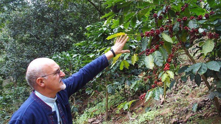 Father Bruno Rossi controls a coffee plantation