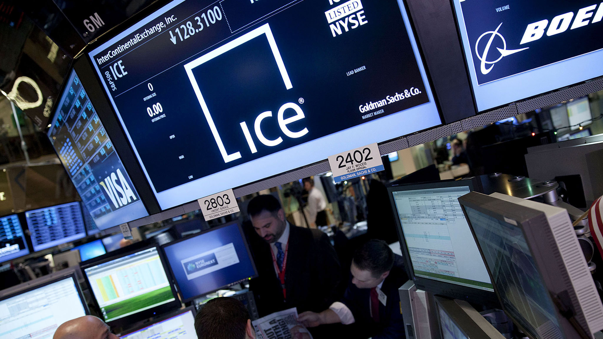 Traders work at the Intercontinental Exchange, Inc.